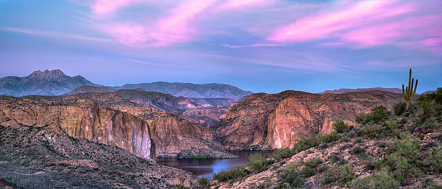 Canyon Lake and Four Peaks Sunset Panorama by Dave Dilli