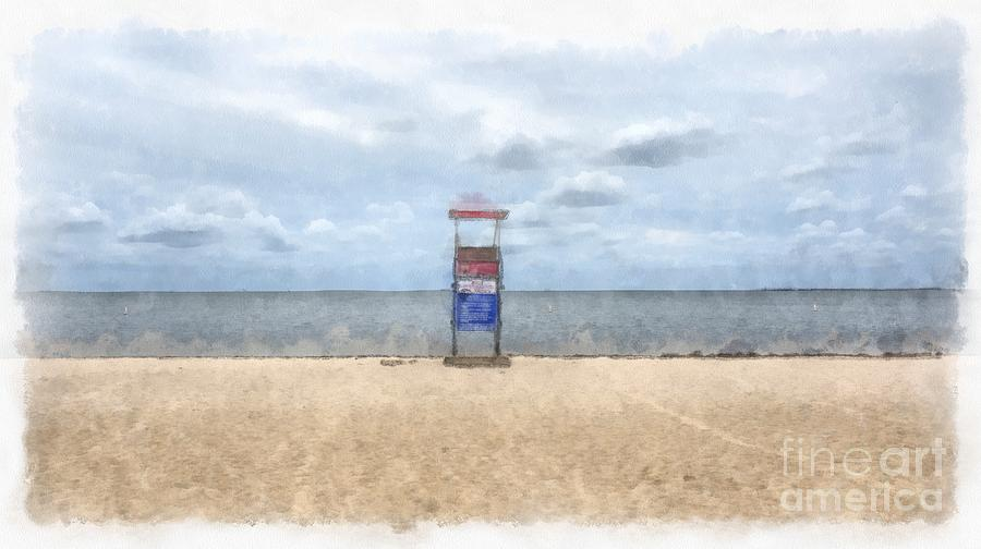 Cape Cod Painting - Cape Cod Beach Lifeguard Tower by Edward Fielding