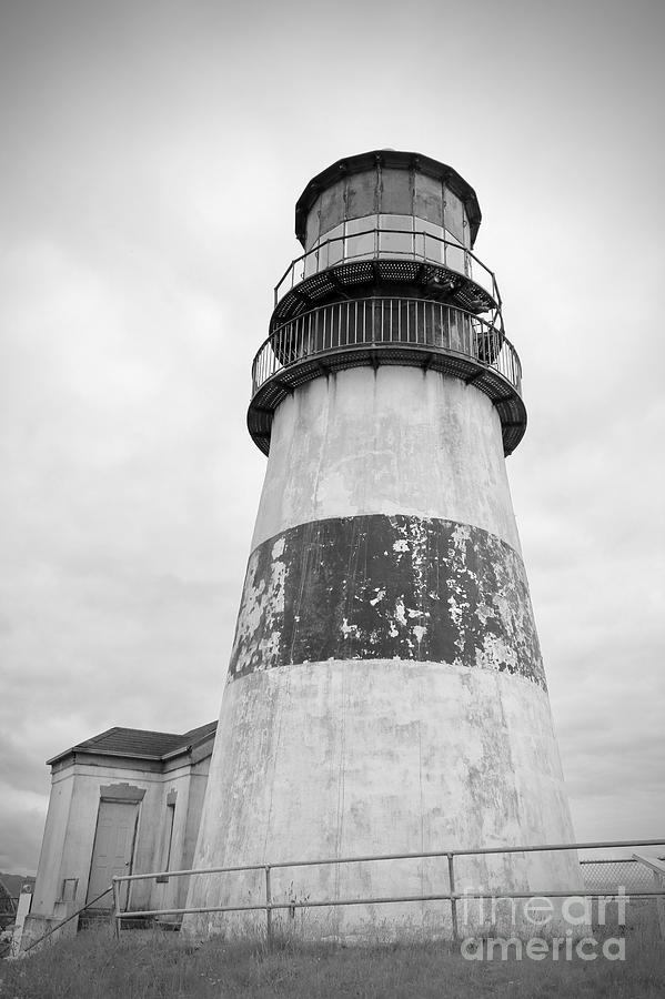 Cape Disappointment Lighthouse Black and White by Carol Groenen