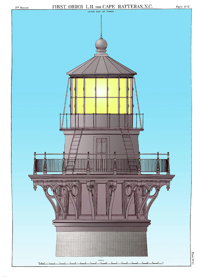 Cape Hatteras Drawing - Cape Hatteras Lamp House by Jerry McElroy