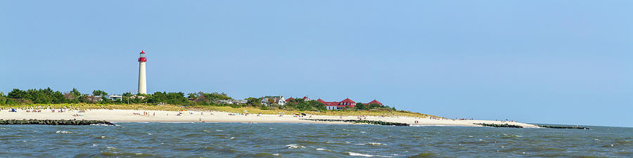 Cape May Lighthouse beach panorama by Karen Foley