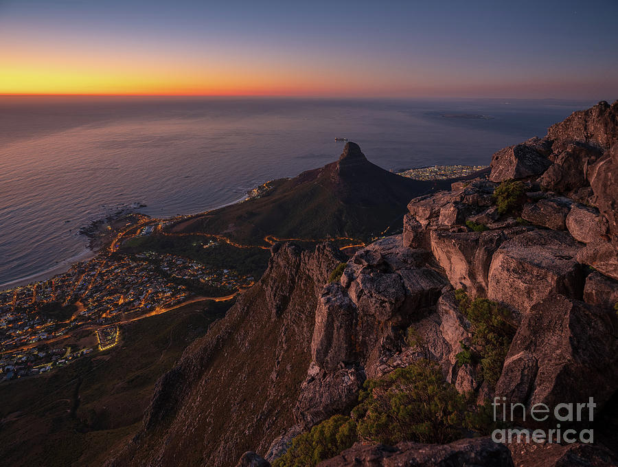 Cape Town Lions Head Sunset From Table Mountain Photograph