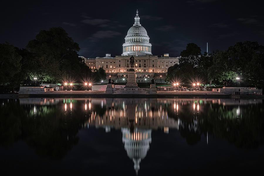 Washington Dc Photograph - Capitol Night by Robert Fawcett