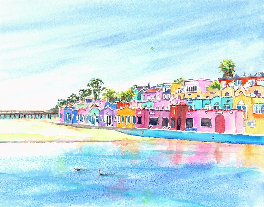 Capitola California Colorful Houses by Carlin Blahnik CarlinArtWatercolor