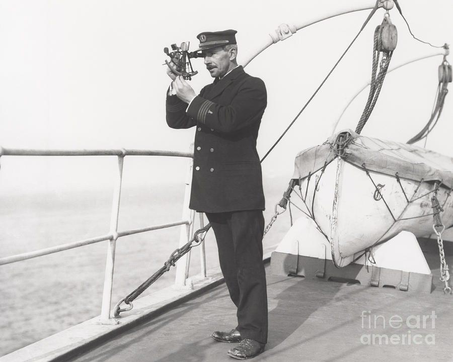 Measuring Photograph - Captain Navigating Ship by Everett Collection
