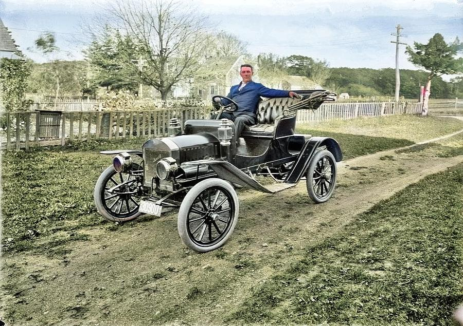 Car. 2 Cylinder Maxwell, Ca 1910 Vintage By Edward Lee Luce Colorized By Ahmet Asar Painting