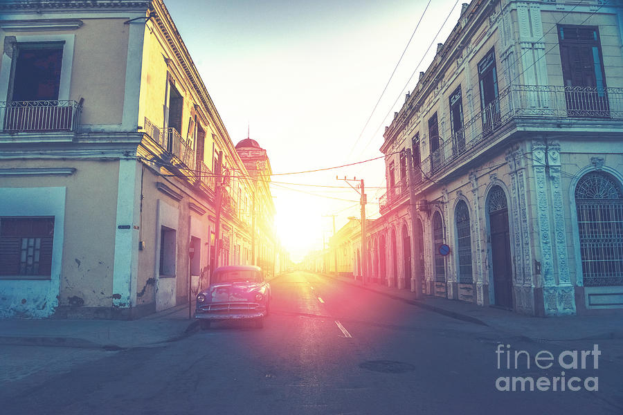 Flare Photograph - Car Drive In Havana Street, Faded And by Marcin Jucha