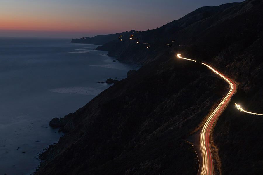 Car Lights On Pacific Coast Highway Photograph by Kodiak Greenwood
