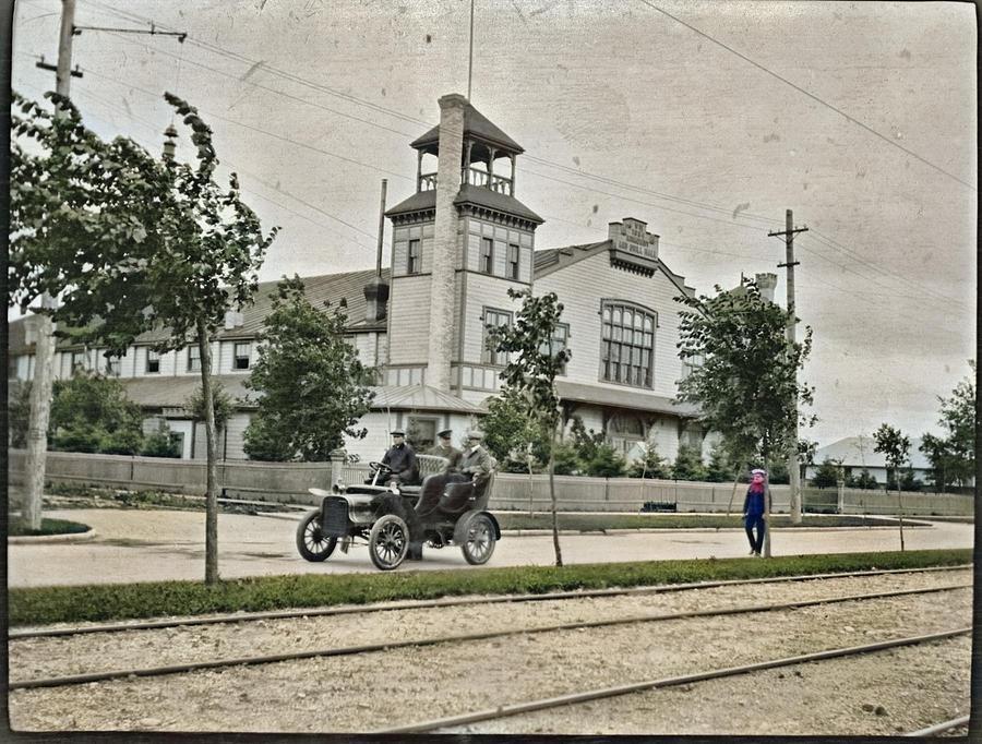 car outside Fort Osborne in Winnipeg, Manitoba in 1907 colorized by Ahmet Asar colorized by Ahmet As Painting