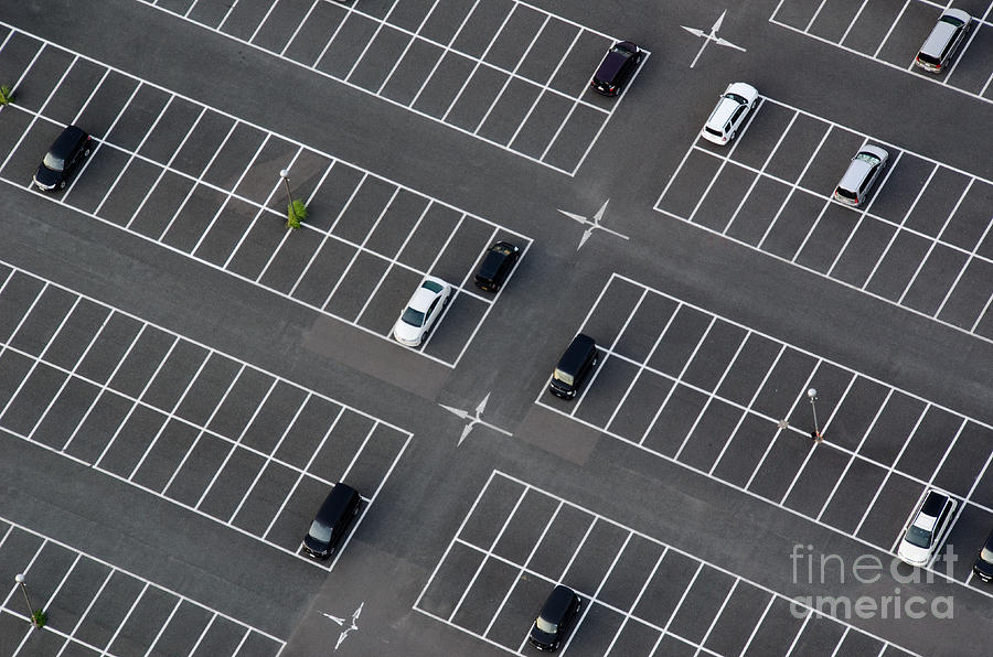 Area Photograph - Car Park Seen From Above With Many by Andreas Altenburger