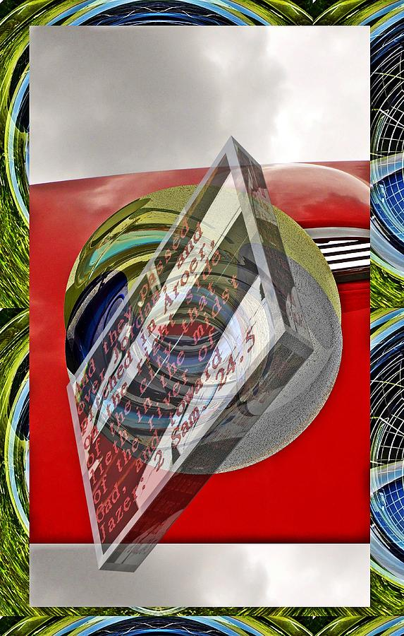 Car tail pipe cylinder as art little planet with text as a box by Karl Rose