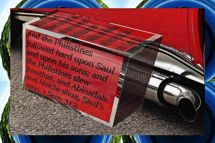 Car tail pipe with text as a box by Karl Rose