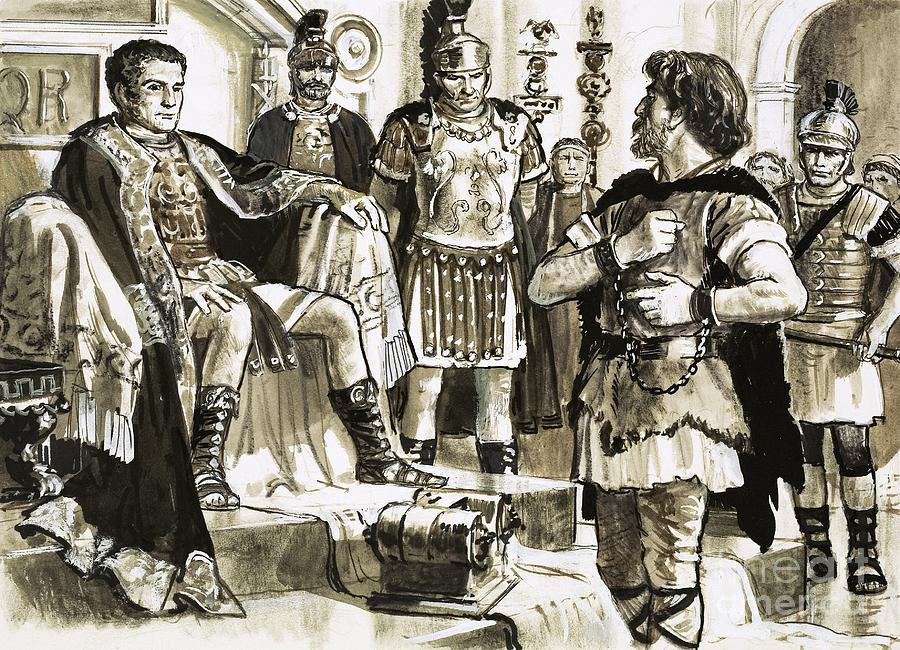 Caractacus Confronts Emperor Claudius by Cl Doughty