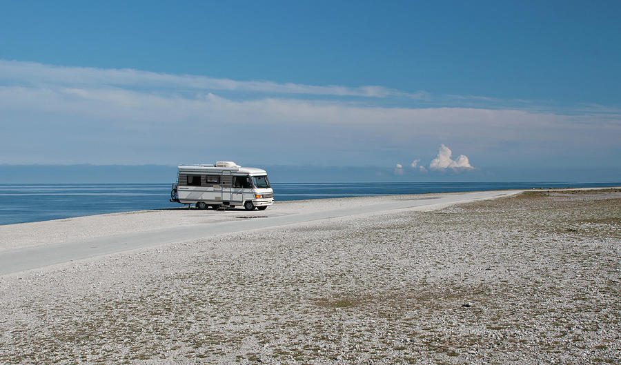 Caravan On Beach Photograph by Hokan Jansson
