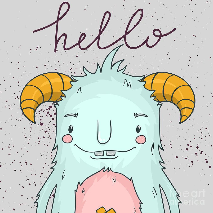 Template Digital Art - Card Template With Cartoon Monster by Maria Sem