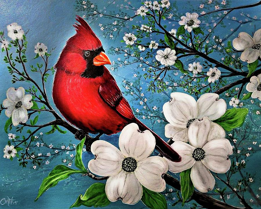 Cardinal in the Dogwood by Christina M Hale
