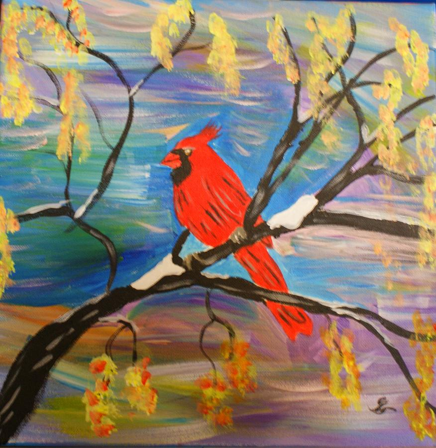 Cardinal Painting - Cardinal in Winter by Yvonne Sewell