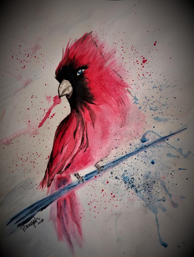 Watercolor Painting - Cardinal by Jennifer Baumgartner