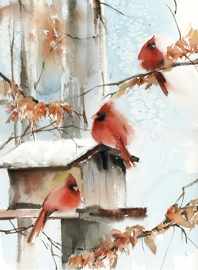 Vertical Painting - Cardinal Scene by Sophia Rodionov