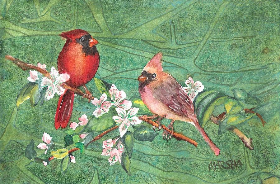 Cardinals and Blossoms by Marsha Woods
