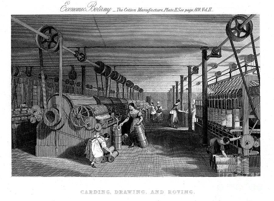 Carding, Drawing And Roving Cotton Drawing by Print Collector