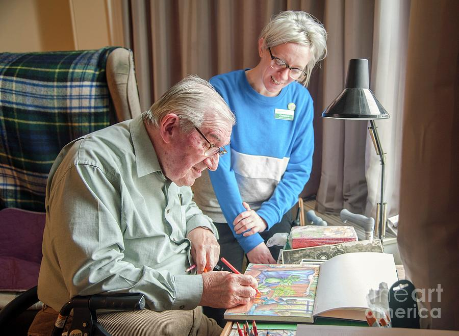 Europe Photograph - Care Home Art Activity by John Cole/science Photo Library