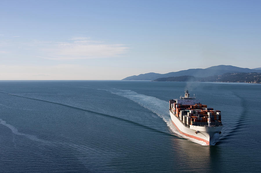 Cargo Ship Wide Angle View Photograph by Dan prat