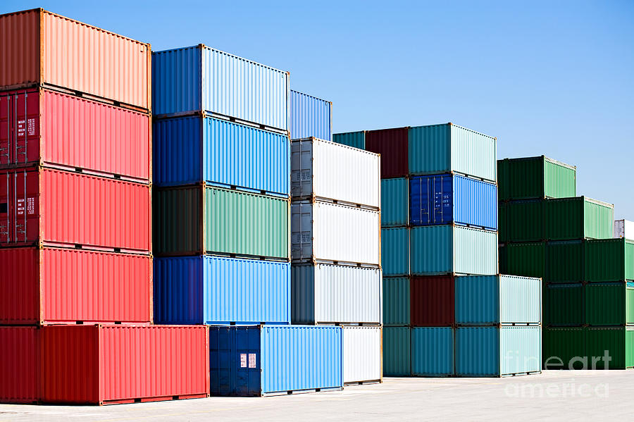 Container Photograph - Cargo Shipping Containers Stacked At by Sascha Burkard