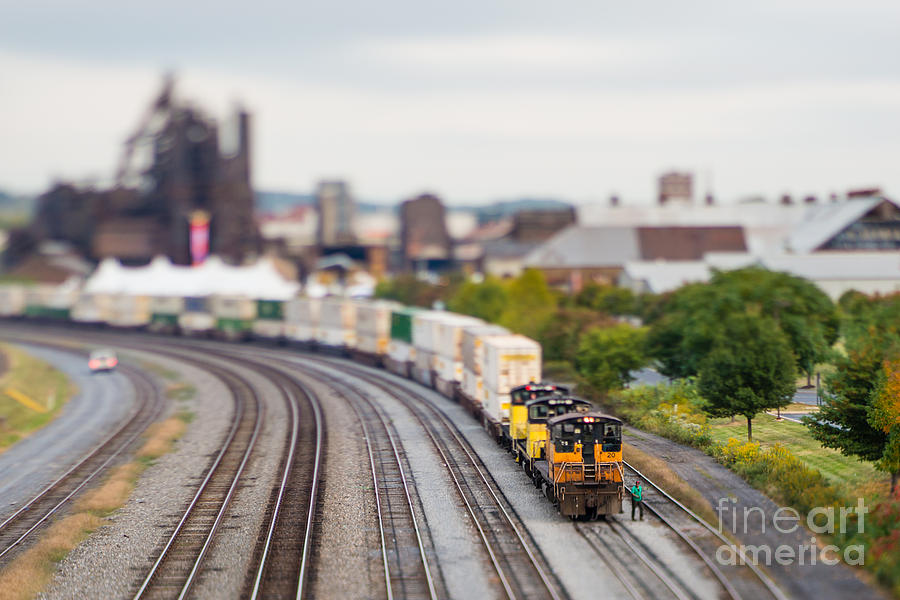 Small Photograph - Cargo Train Photographed Using A by Jkom