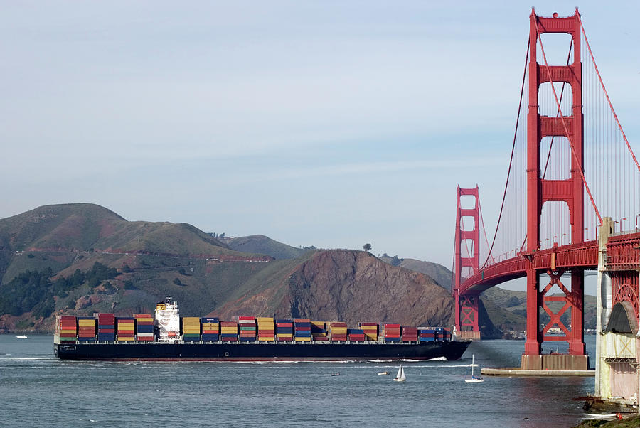 Cargo Vessel Entering The Golden Gate Photograph by Stephanhoerold