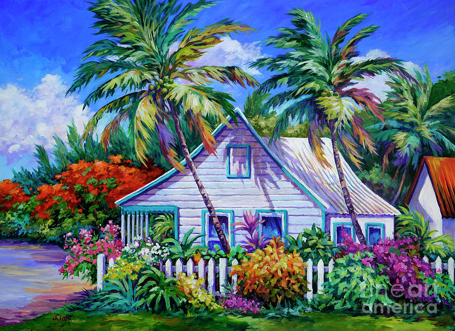 Cottage Painting - Caribbean Cottage With Picket Fence by John Clark