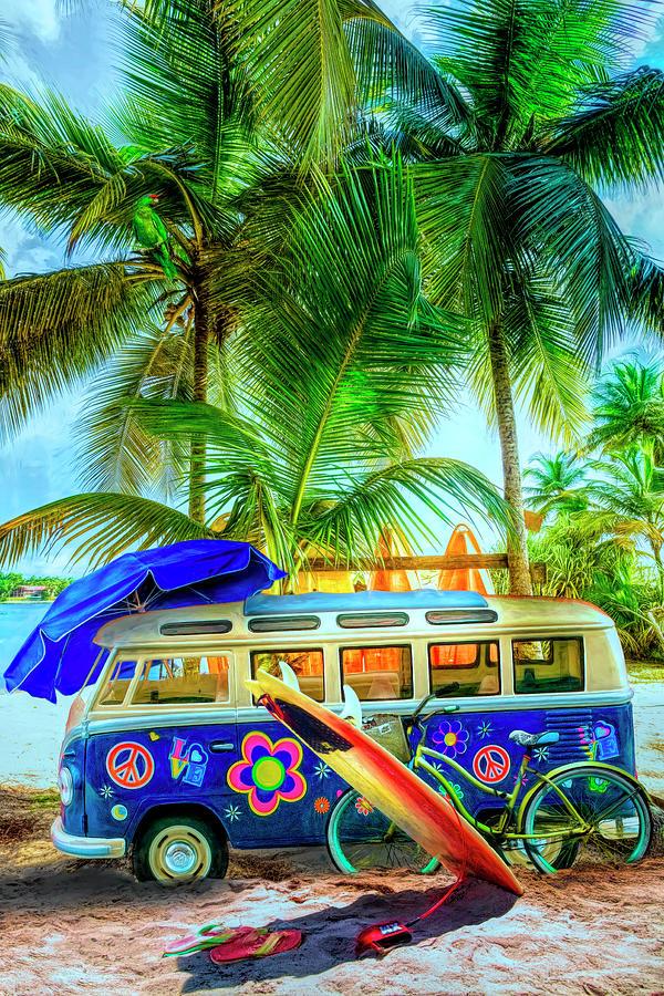 Caribbean Island Surf Mood by Debra and Dave Vanderlaan