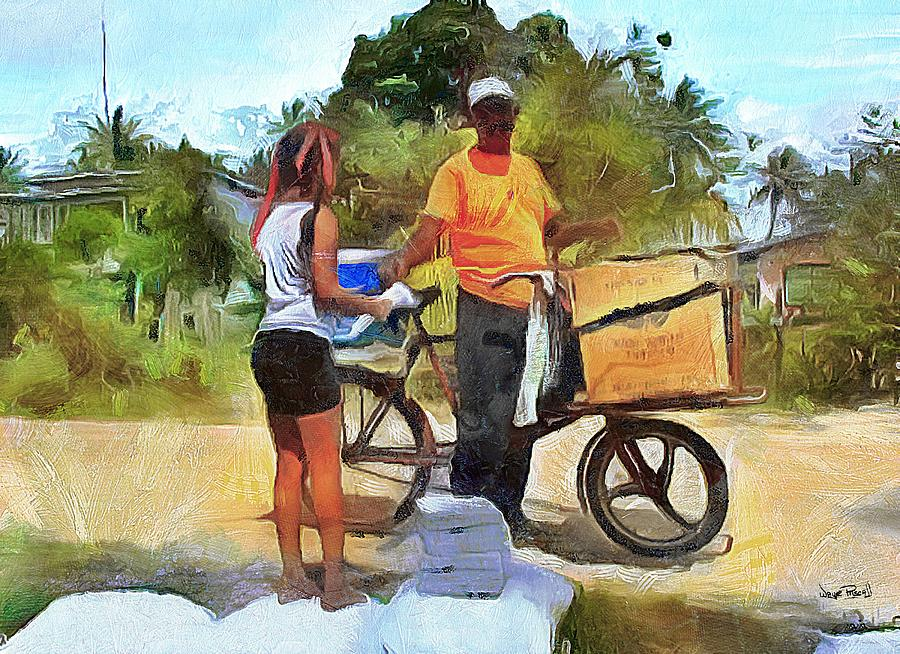CARIBBEAN SCENES - Village Vendor by Wayne Pascall