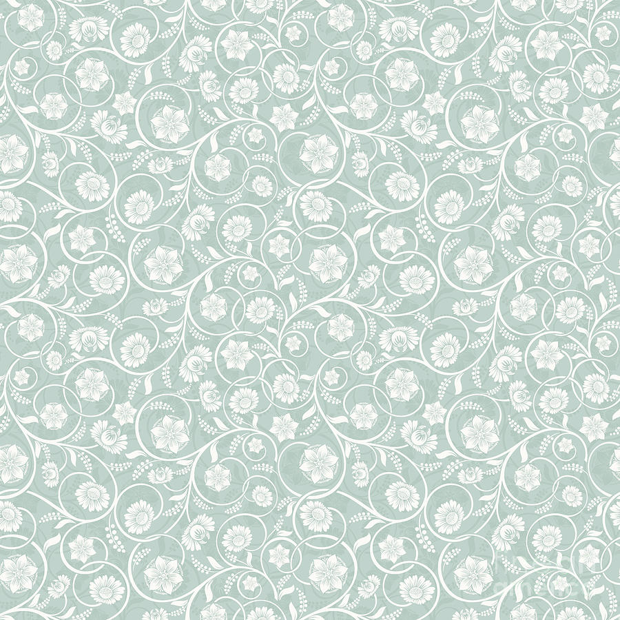 Caribbean Teal Soft Pastel Green Floral Surface Pattern Digital