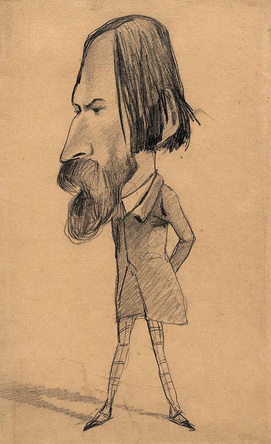 Caricature of Auguste Vacquerie by Claude Monet