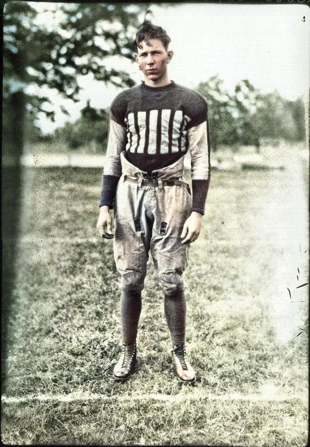 Carl Frische In Football Uniform 1927 Colorized By Ahmet Asar Painting