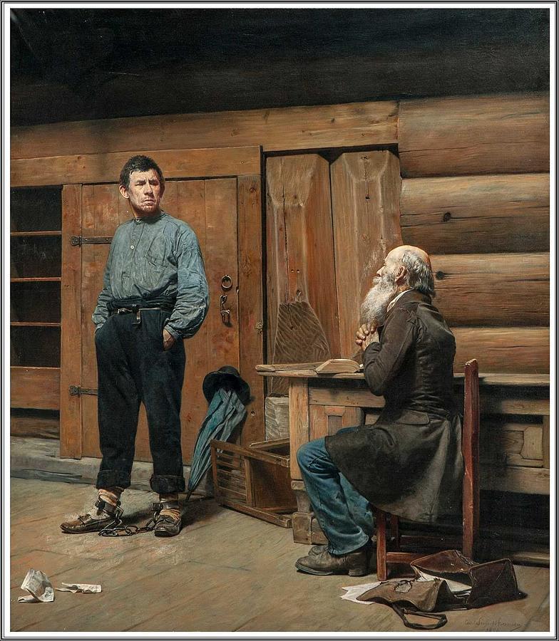 Person Painting - Carl Sundt-hansen  1841-1907 Un Homme Endurci - 1896 by Celestial Images