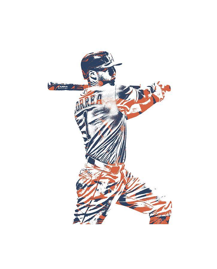 Carlos Correa Mixed Media - Carlos Correa Houston Astros Pixel Art Tshirt 2 by Joe Hamilton