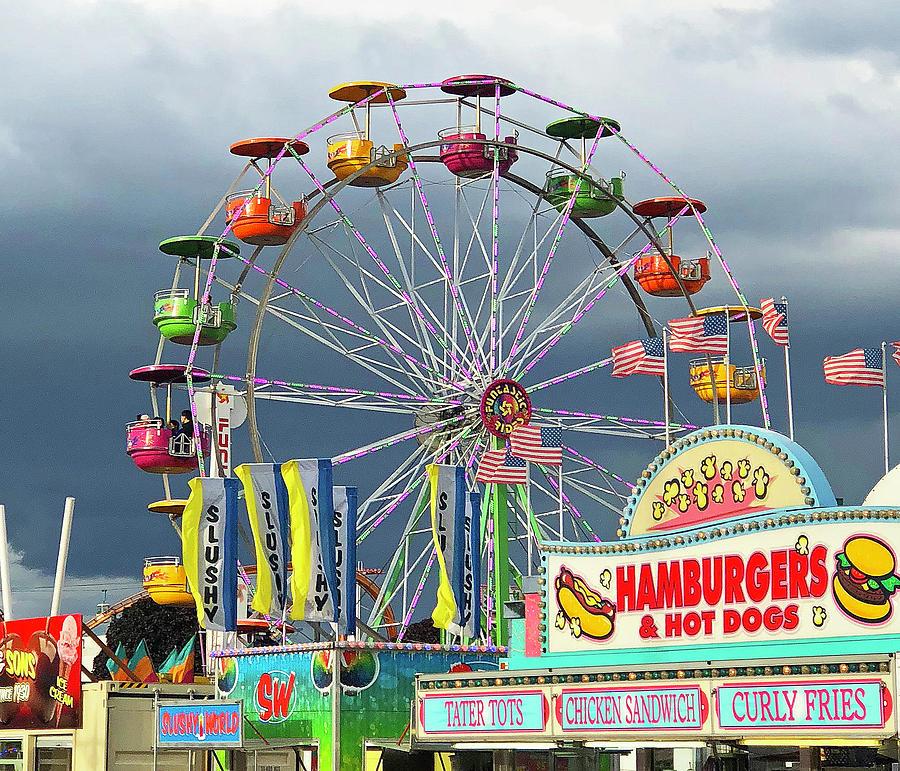 Carnival Ferris Wheel closeup Photograph by Jeff Thacher