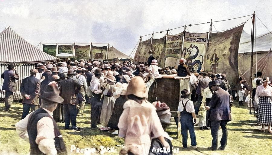 Carnival, Leader, Saskatchewan, August 20, 1917 Colorized By Ahmet Asar Painting