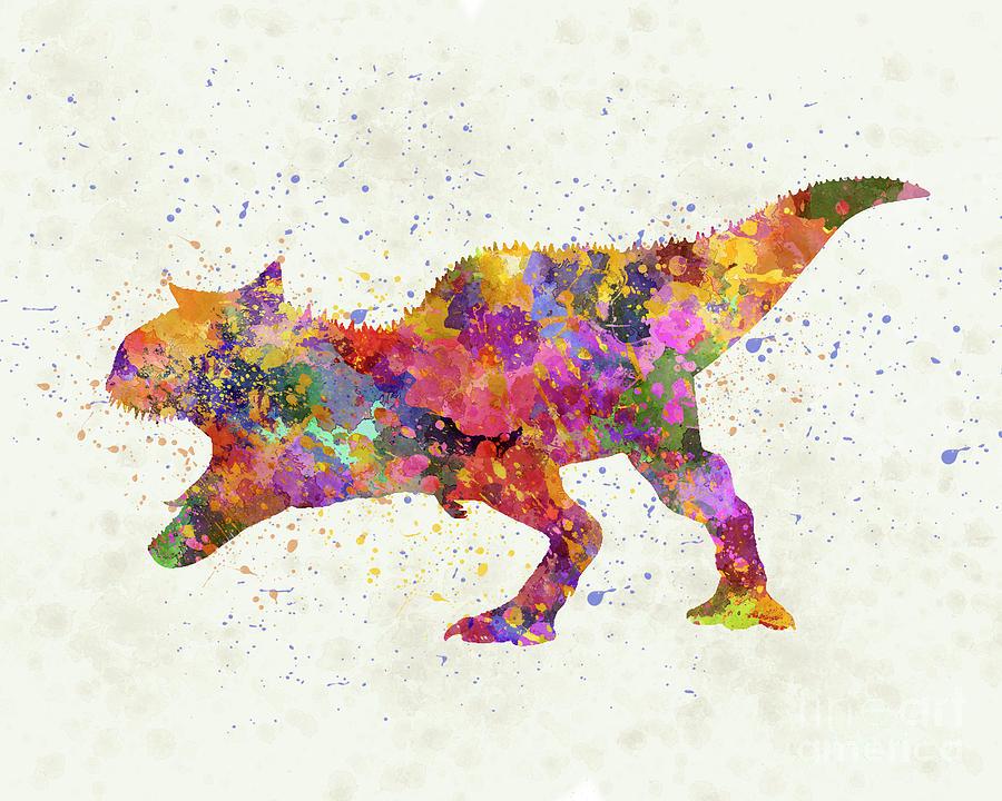 Carnotaurus dinosaur in watercolor by Pablo Romero