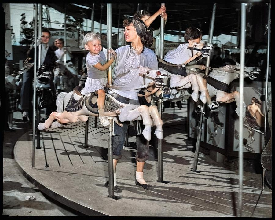 Carousel At P.n.e. Playland 1950 Colorized By Ahmet Asar Painting