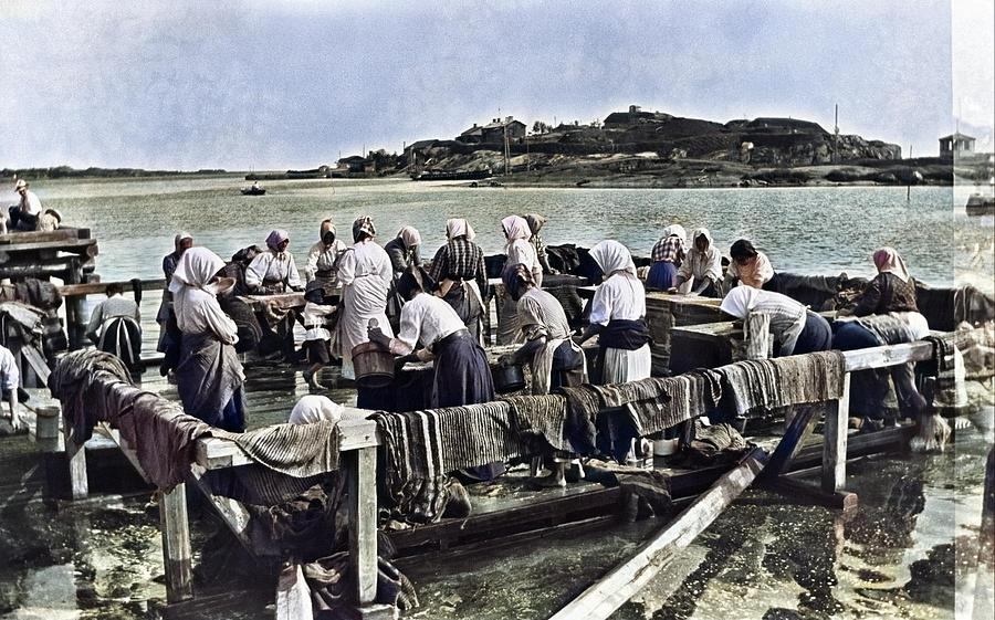 Carpet Wash At The Beach Of Kaivopuisto. In The Background Haraka Island C1910 By Timiriasew Ivan  C Painting
