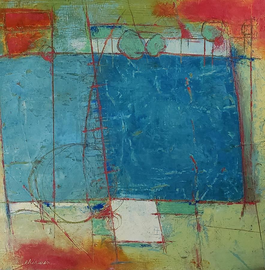 Carre Bleu  Painting by Ellen Kirwan