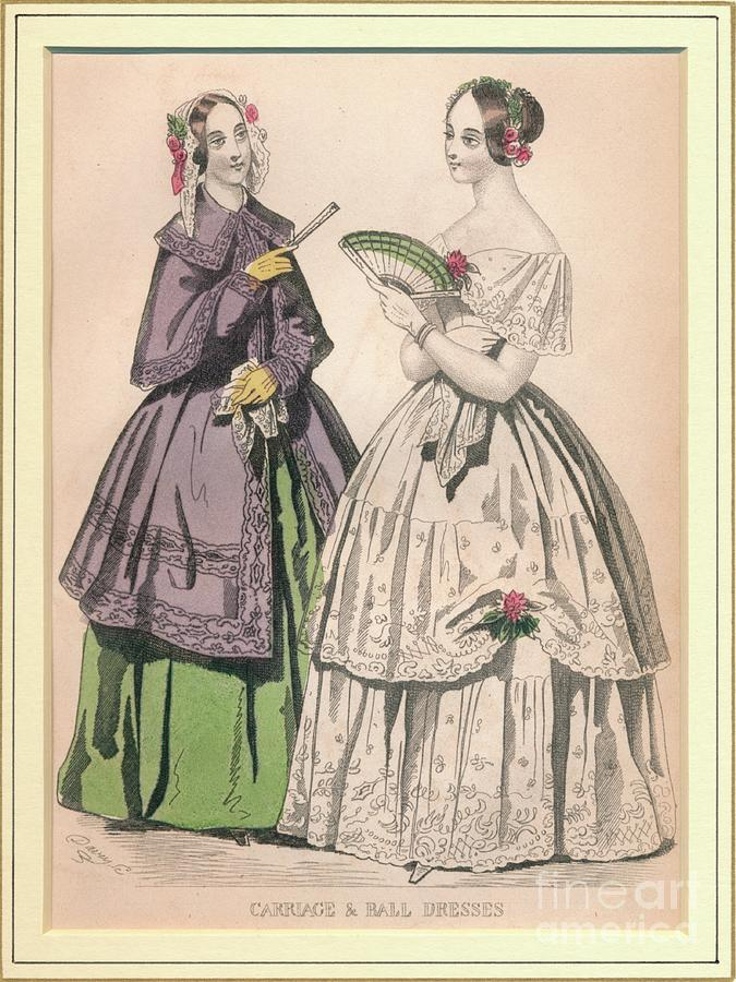 Carriage & Ball Dresses Drawing by Print Collector