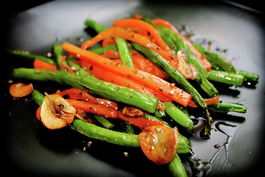 Carrot And Green Beans Stir Fry Photograph by Iris Filson