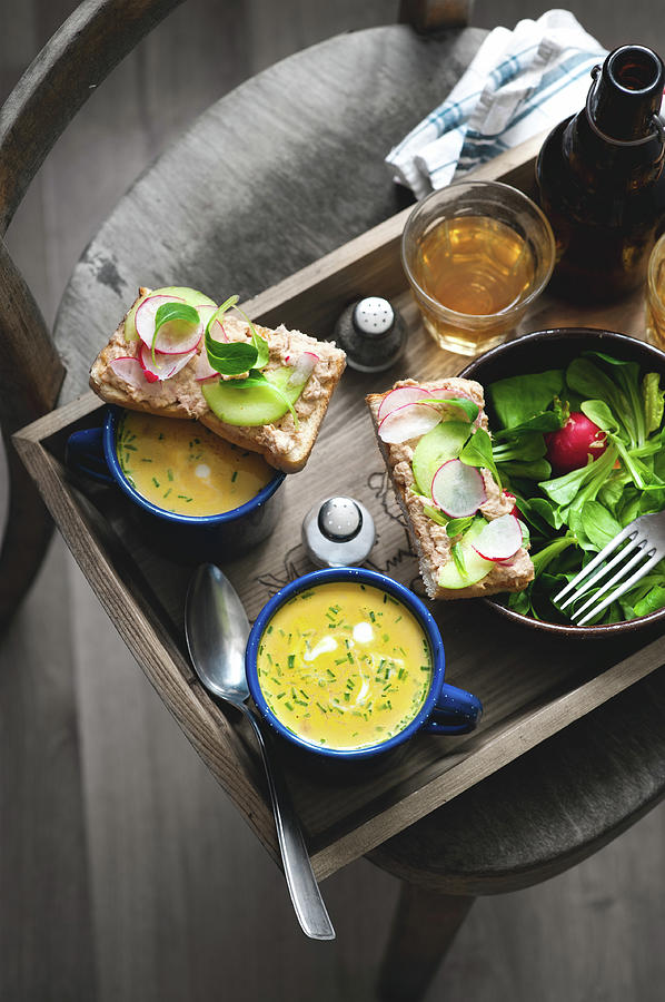 Carrot Soup And Tuna Sandwich Photograph by A.y. Photography