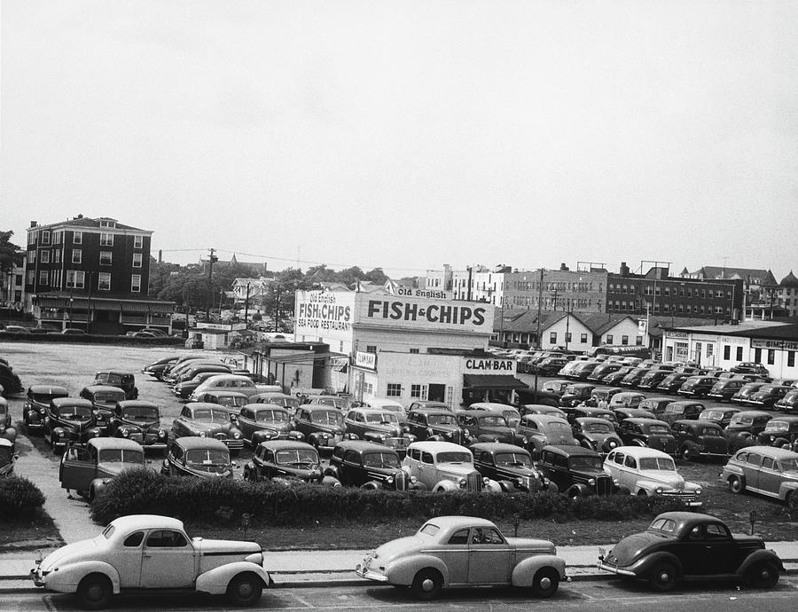 Cars On Parking In Asbury Park, Nj, B&w Photograph by George Marks