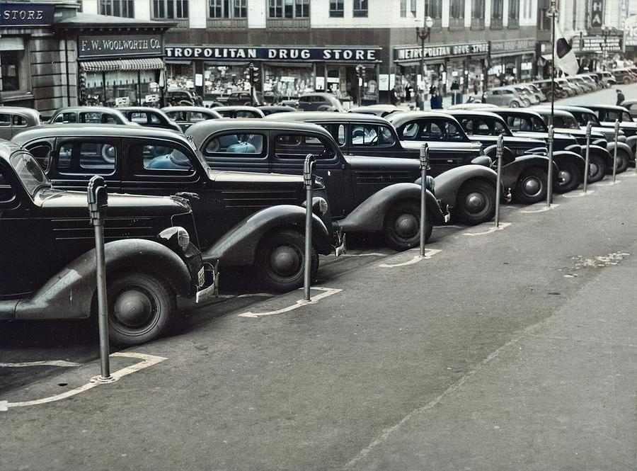Cars Parked Diagonally Along Parking Meters, Omaha, Nebraska, 1938. John Vachon  1914-1975 Colorize Painting