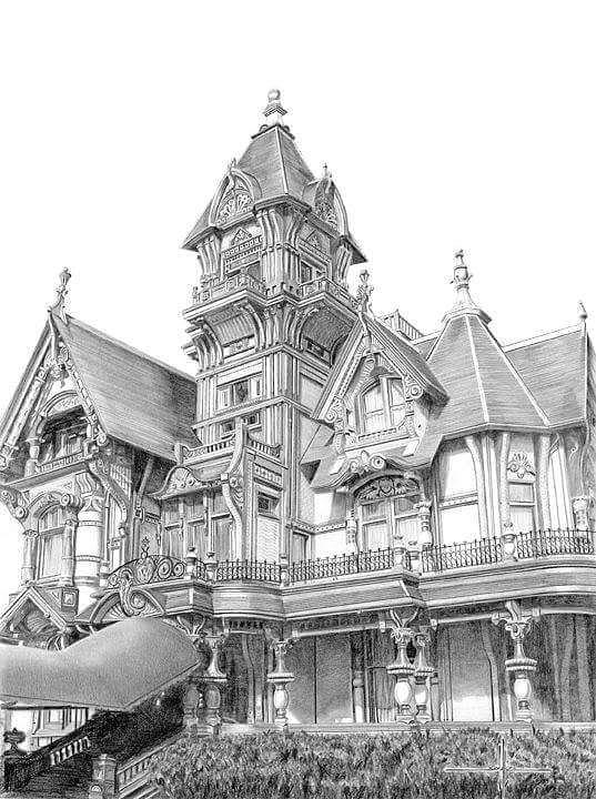 Mansion Drawing: Carson Mansion Drawing By Larry Schultz